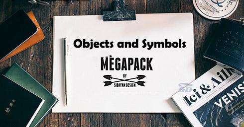 مجموعه عظیم گرافیک آماده برای فتوشاپ - Objects and Symbols Mega Pack